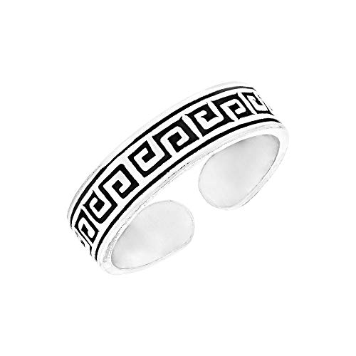 81stgeneration Frauen .925 Sterling Silber Griechischer Schlüssel Kleiner Midi Zehe Verstellbar Ring