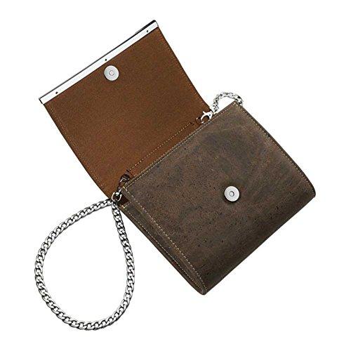 Corkor sac à bandoulière avec detachable chaîne métallique - Liège Marron Vegan Marron