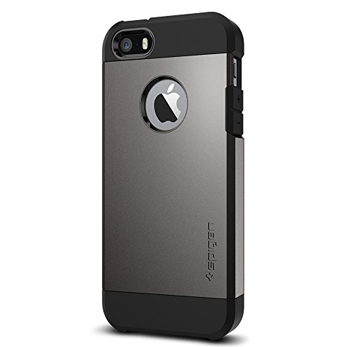 Coque iPhone SE, Spigen Coque iPhone 5S / 5 [Tough Armor] Protection US Military Grade [Gunmetal] Air Cushion La technologie d'absorption, Coque Apple iPhone 5 / 5s / iPhone SE (2016) - (041CS20188)
