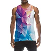 TUONROAD Vest Tops for Men Funny 3D Print Geometric Gym Tank Top Light Sleeveless Blue Summer Casual Boys Vest Tops Round Neck Running Sports Tank-Top Slim Fit Holiday Beach Vest Top - S