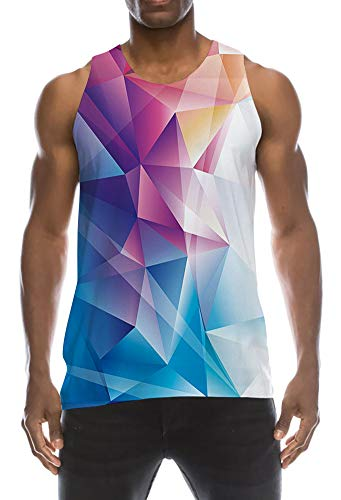 TUONROAD Tanktop Herren Lustig 3D Grafik Drucken Geometrisch Tank Top Ärmellos Sommer T-Shirts Leicht Muskelshirts Gym Fitness Bodybuilding Tankshirt Lässig Unterhemden Männer Jungen - XXL - Leichtes T-shirt