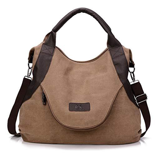 Olprkgdg Lässige Canvas Hobo-Tasche für Frauen mit großem Griff Große Handtasche Umhängetasche (Color : Brown) - Lässige Hobo