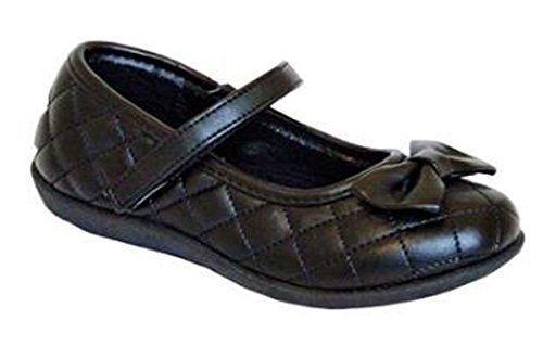 Chix Filles École formelles noires à enfiler Pointure Chaussures 10-2.5 Noir Mat (NOEUD)