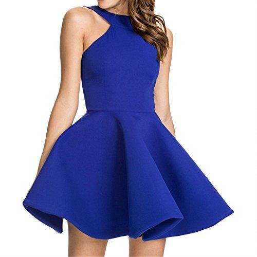 QIYUN.Z Les Femmes L'ete Cou Couleur Unie Licol De L'epaule Robe Dos Nu Tunique De Tulle Bleu fonce