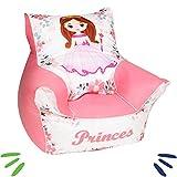 DELSIT Kindersitzsack Kinder Sitzsack Spielzimmer Kindermöbel für Mädchen PRINZESSIN Rosa