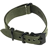 Pelle Crazy Horse Ruggedly mano Caccia linea Lunghezza del cinturino verde scuro Crazy Horse Nero Chiusura 24