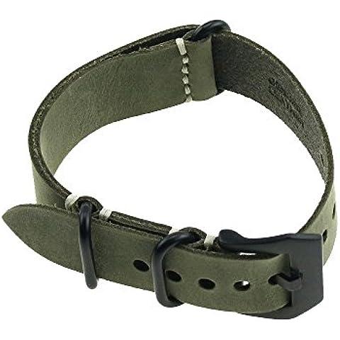 Cuero de caballo loco Robustamente mano Caza línea Longitud de la correa de reloj verde oscuro Caballo Loco Negro Broche 24mm