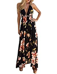 HOMEBABY Chiffon Floreale Abiti Lunghi Donna Eleganti - Estivi Vestiti  Casual Donna - Vintage Maxi Abito 5b52268a80f