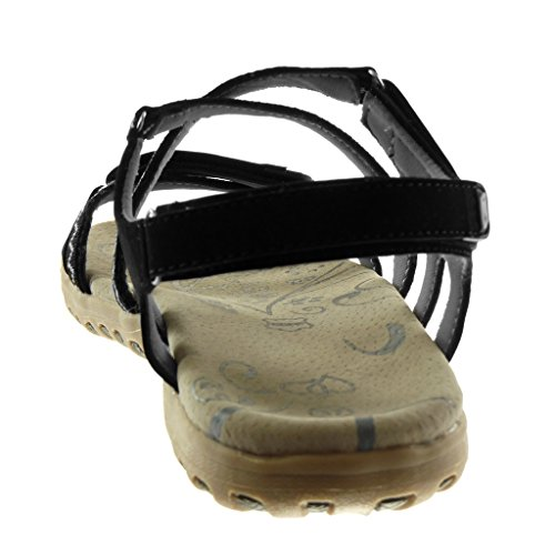 Angkorly Damen Schuhe Sandalen - Knöchelriemen - Sneaker Sohle - Bicolor - Multi-Zaum Flache Ferse 2.5 cm Schwarz 2