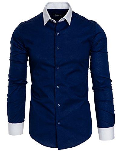 Amaci&Sons Herren Slim Fit Hemd Bügelleicht Business Freizeit Shirt 50004 Navyblau