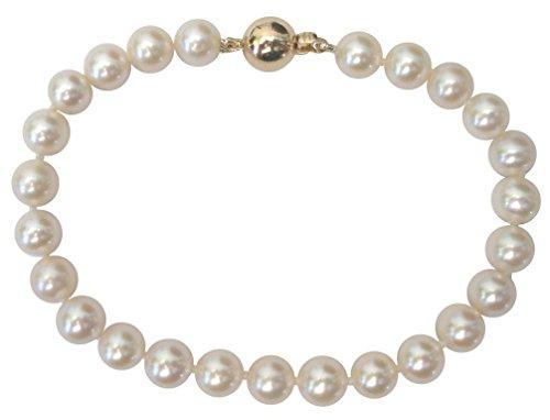 Pulsera de perlas clásicas blancascon precioso broche redondo de oro amarillo de 14kt