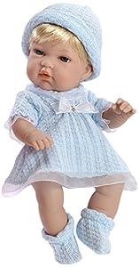 ARIAS - Muñeca bebé Natal, con Elementos Swarovski, Color Azul, 33 cm (90110)