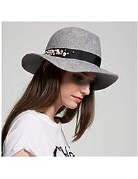 HBR Sombrero 100% de Lana de otoño Invierno de Fedora para Mujer Sombrero  de Lana 2c738a148a5