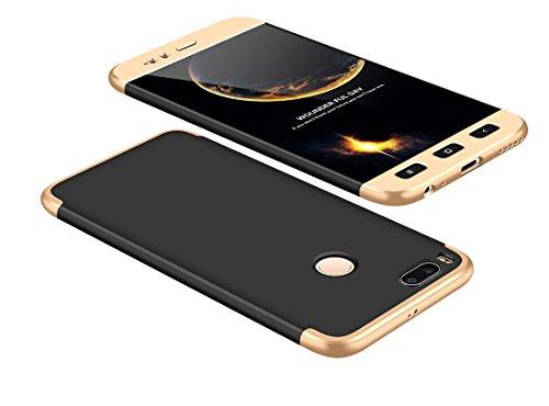 Funda Xiaomi Mi A1/Mi 5 X 360 Grados Oro Negro Ultra Delgado Todo Incluido Caja del teléfono de la Protección 3 en 1 PC Case JOYTAG-Oro Negro