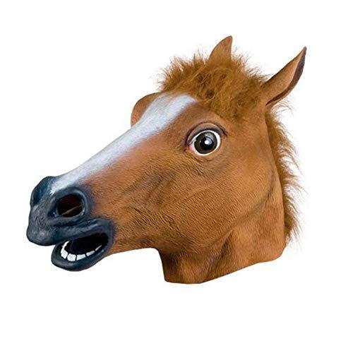 Hacoly Halloween Maske Latex Tiermaske Pferdekopf Pferd Kostüm Pferdemaske für Erwachsene Weihnachten Kleid Party Dekoration - Braun