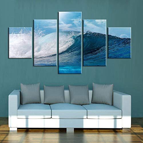 Décoration de la Maison Toile Impressions HD Paysage 5 Pièces Vagues Mer Mur Art Modulaire pour Le Salon Photos Oeuvre Affiche
