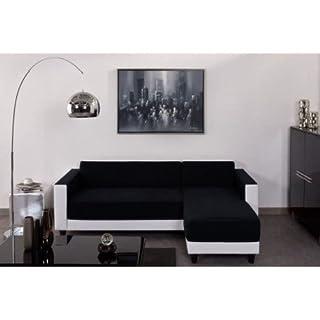 finlandek Canapé Fixe KULMA 4 Places - 205x141x70 cm - Tissu - Noir et Blanc
