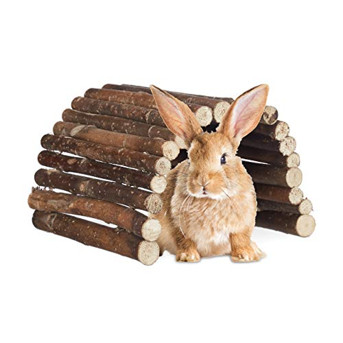 Relaxdays roditore ponte in legno, tunnel per piccoli animali gabbia, criceti, conigli, flessibile biegen, schima, hbt 2x 29x 17cm, colore naturale, schima in legno, metallo, standard,