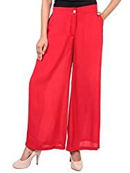 GOODWILL Womens Casual Rayon Crepe Solid Palazzo-Pink_GW-909_XXL