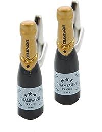 COLLAR AND CUFFS LONDON - Gemelli Di ALTA QUALITÀ e SCATOLA REGALO - Bottiglia Di Champagne - Ottone - Colori Nero e Oro - Festeggiare In Grande Stile