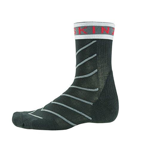 SealSkinz Herren Single Layer Lightweight Breathable Socken, Black/Grey/White/Red, L/XL
