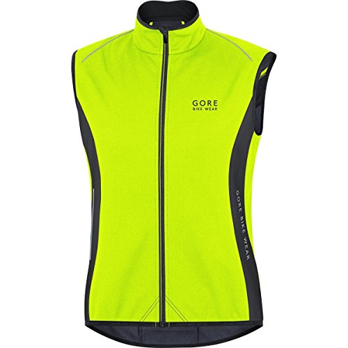 Gore BIKE WEAR, Uomo, Gilet termico, Ciclismo su strada, WINDSTOPPER Soft Shell, POWER Thermo Vest, Taglia L, Giallo neon/nero, VPOWER