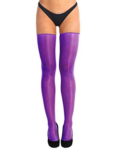 Tiaobug Halterlose Strümpfe Strapsstrümpfe Elasthan Strümpfe zum Anstrapsen Feinstrümpfe Stockings Oberschenkel Overknee Einheitgröße Violett One Size