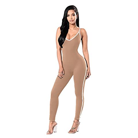 Romacci Women Bodycon Jumpsuit Spaghetti Strap Striped Scoop Neck One Piece Playsuit Rompers Catsuit