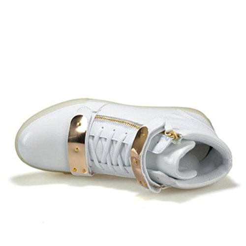 [Présents:petite serviette]JUNGLEST® 7 Couleur Mode Unisexe Homme Femme USB Charge LED Lumière Lumineux Clignotants Chaussures de ma Blanc