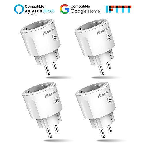 Intelligente Prise WiFi,HORSKY Prise Connectée Intelligente WiFi Prise Compatible avec Android iOS Alexa Prise Courant Intelligente Prise de Courant Mise en Veille Programmable(Wifi prise 4pcs)