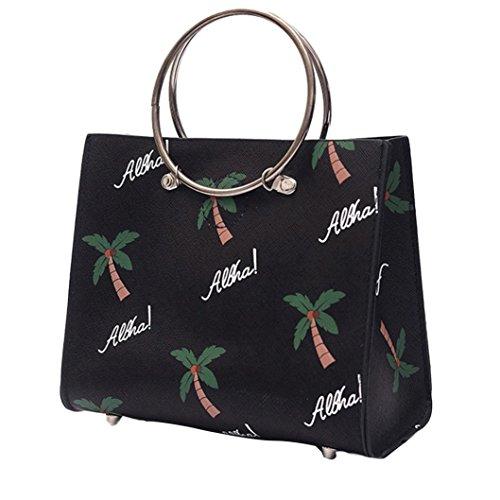BZLine® Damen Stickerei Tasche Handtasche Small Body Taschen Handtasche, 16cm*20cm*9cm Schwarz