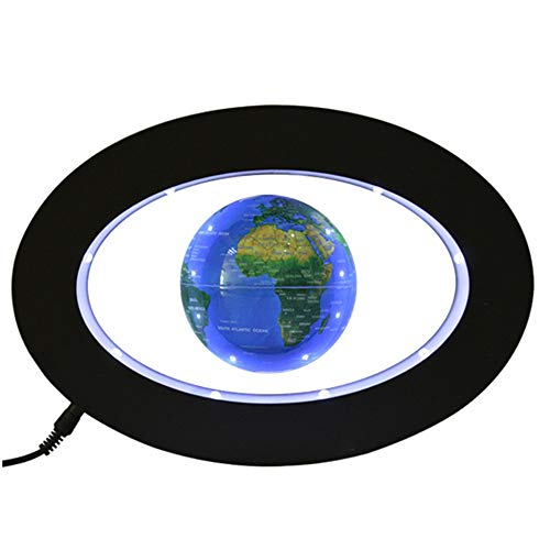 ZHIHUI Schwimmende Kugel - Schwebender Globen Oval schwebende Kugel des 3-Zoll - Bunte geführte helle pädagogische Geschenke bearbeiten Hauptbüroschreibtischdekoration,Blue Land Mobile Base