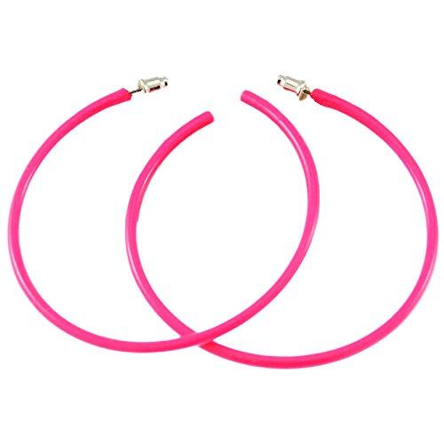 Neon Pink Hoop Earrings for Women