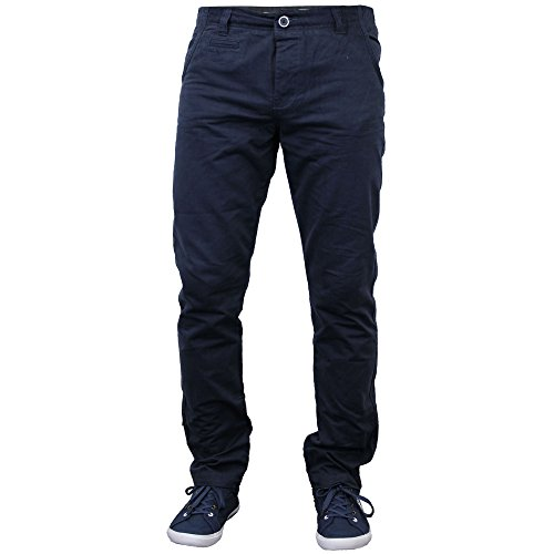 Herren Chino Hose Straight Leg Jeans Anleihen StallionTrousers Hose Slim Fit Blau - Navy - HUMFALL