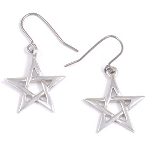 ST Justin, peltro Pentagram orecchini (Small) - Peltro Celtica Orecchini