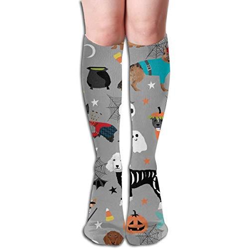 xinfub Hunde in Halloween-Kostüme für Hunderassen verkleideter Stoff, Grau, Unisex, bequeme Crew-Socken, sportliche Socken, ideal für Laufen, Sportsport, Flugreisen und bequemes 6530