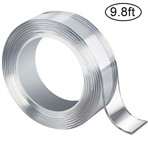 AIEX Waschbares Spurloses Klebeband, Durchsichtiges, Doppelseitiges, Nano Entfernbares Klebeband, Wiederverwendbare, Rutschfeste, Mehrfach Verwendbare Klebestreifen (Transparent, 2mm/3m, 1 Rolle)  - Haus Tür-hardware