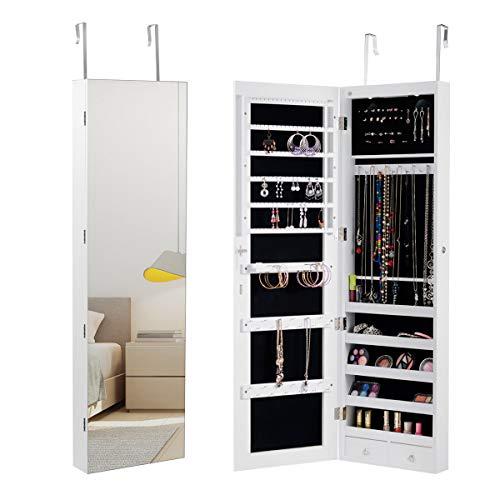 Costway armadietto per gioielli con specchio portagioie specchiera da parete con luci led, bloccabile a chiave, 33,5 x 10 x 120 cm (bianco)