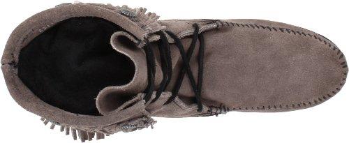Minnetonka Double Fringe Tramper Boot 621T Damen Mokassin Stiefel Grau (Grey)