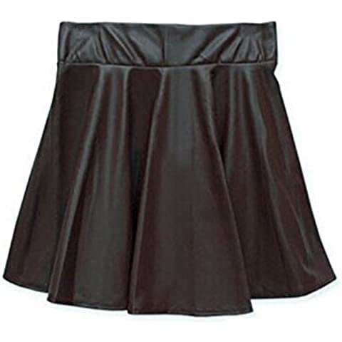 Ladies Petite Wet Look piel sintética corto Mini falda