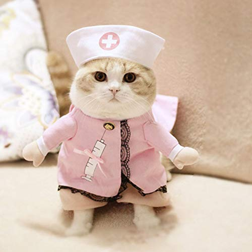 DOGCATMM Lustige Katze Kostüm Halloween Haustier Katze Hund Kleidung Kreative Neuheit Katze Kätzchen Kleidung Krankenschwester (Kreativ Krankenschwester Kostüm)