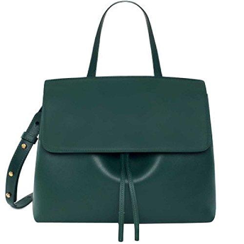 Frauen Einfaches Tasche Schultertasche Handtasche Leder Leder Darkgreen