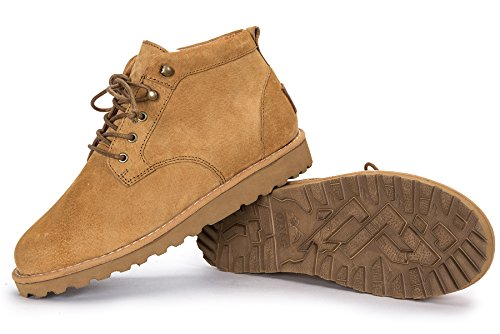 OZZEG bottes pour dames en cuir véritable neige chaude doublure en peau de mouton Brun