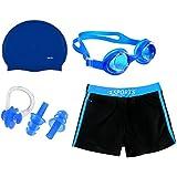 Body Maxx Swimming Kit Swimming Shorts, Silicone Swim Cap, Goggle, 2 Pc Ear Plugs and 1 Nose Clip Combo