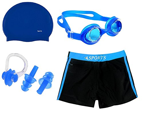 Body Maxx Swimming Kit Swimming Shorts, Silicone Swim Cap, Goggle, 2 Pc Ear Plugs and 1 Nose Clip Combo