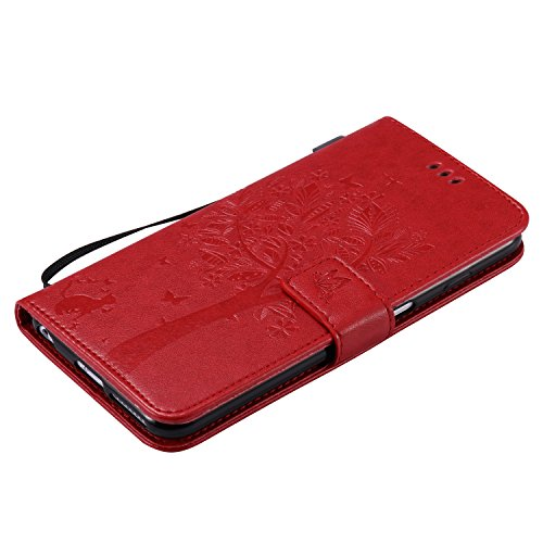 Cozy Hut Lover Dandelion Pattern Gemalt PU Leder Wallet Case Folio Schutzhülle für iPhone 6 Plus / 6S Plus (5,5 Zoll),Smartphone Handytasche Etui Schale Handy Tasche Flip Cover in PU mit Standfunktion Rote Katzenbaum