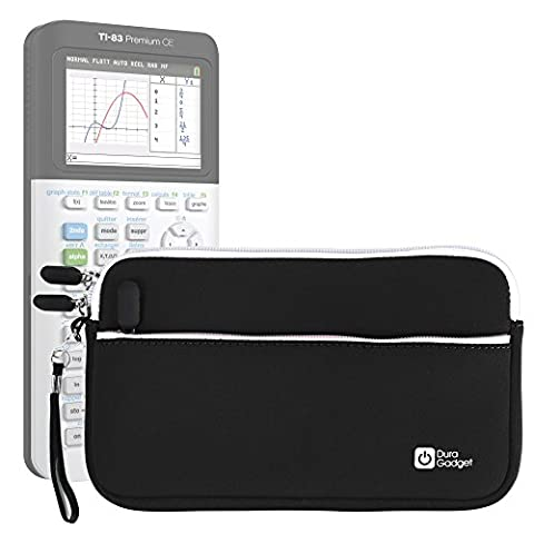 Housse noire de transport pour Texas Instruments TI-83 Premium, TI 82 Advanced et TI-NSPIRE CX calculatrices scientifiques - néoprène lavable en machine + poche zippée DURAGADGET - Calculatrice non fournie