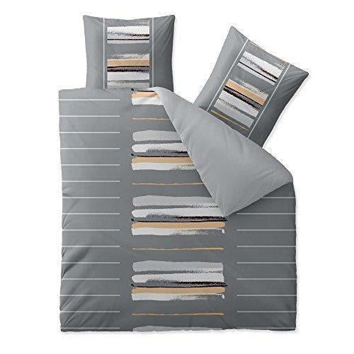 aqua-textil Trend Hanaa Bettwäsche 3 teilig 200x220 Baumwolle atmungsaktiver weicher Bettbezug Kissen Streifen Uni natur grau anthrazit beige 0011752
