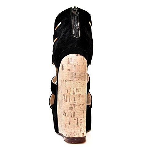 Onlymaker Damenschuhe High Heels Laser Cut Sandale mit Korkoptik Wedge Plateau Schwarz