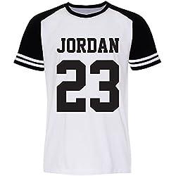 Pallas Camiseta de deporte unisex, diseño del jugador de baloncesto Jordan White Sleeve Black Large